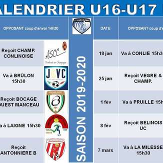 Calendriers 2019-2020 Phase 2 Jeunes